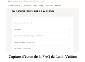 Capture d'écran FAQ Louis Vuitton contact